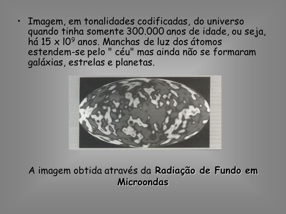 A imagem obtida através da Radiação de Fundo em Microondas