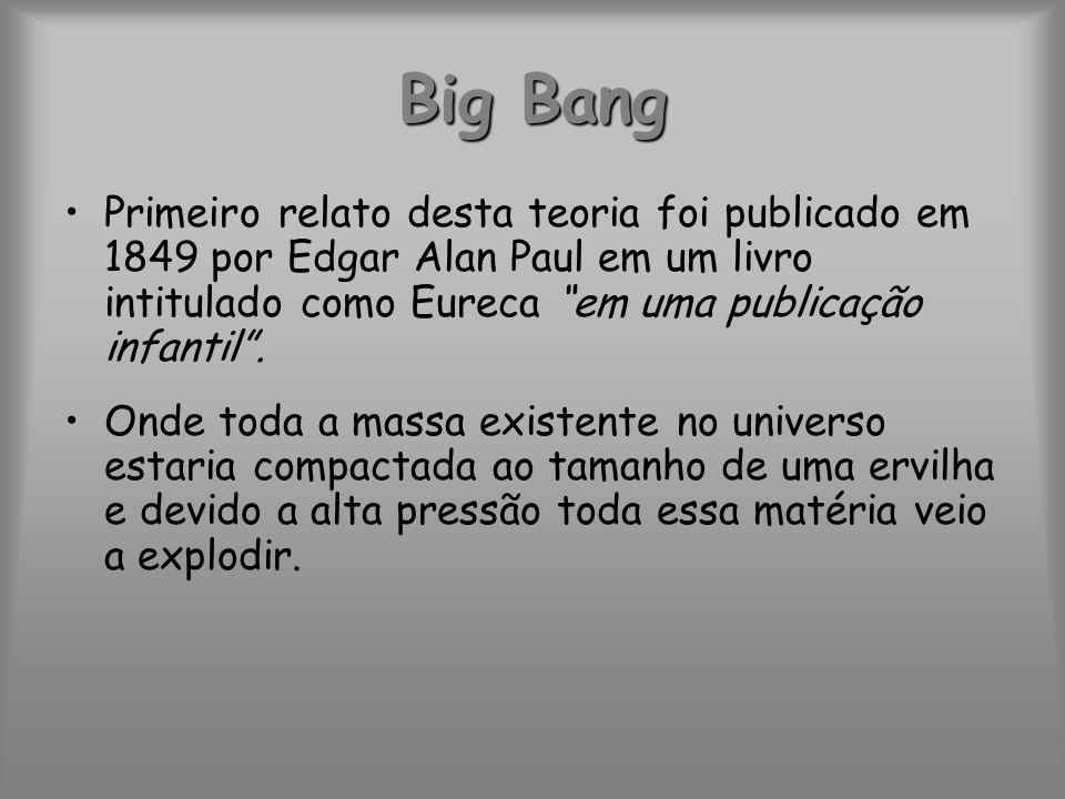 Big Bang Primeiro relato desta teoria foi publicado em 1849 por Edgar Alan Paul em um livro intitulado como Eureca em uma publicação infantil .