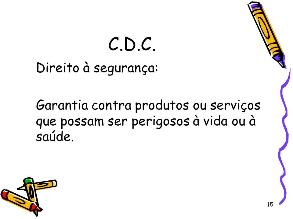 C.D.C. Direito à segurança: