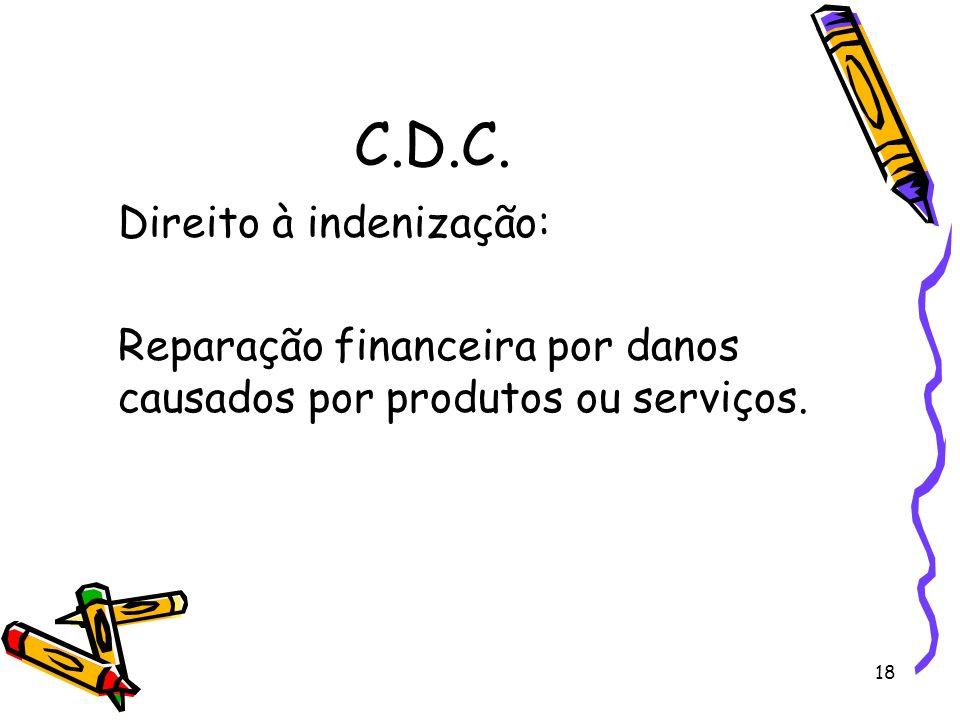 C.D.C. Direito à indenização: