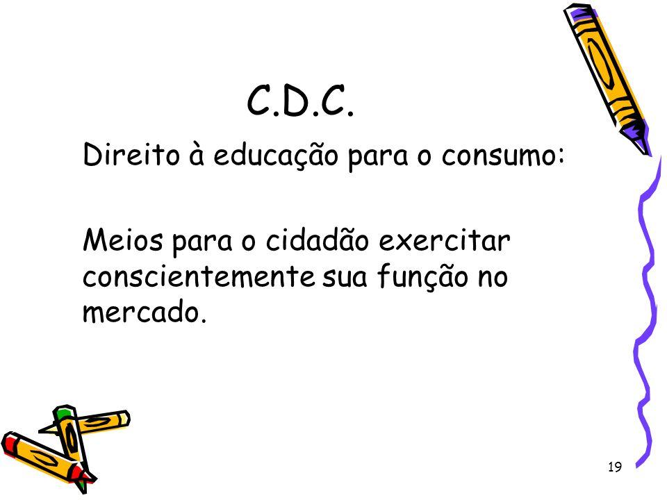 C.D.C. Direito à educação para o consumo: