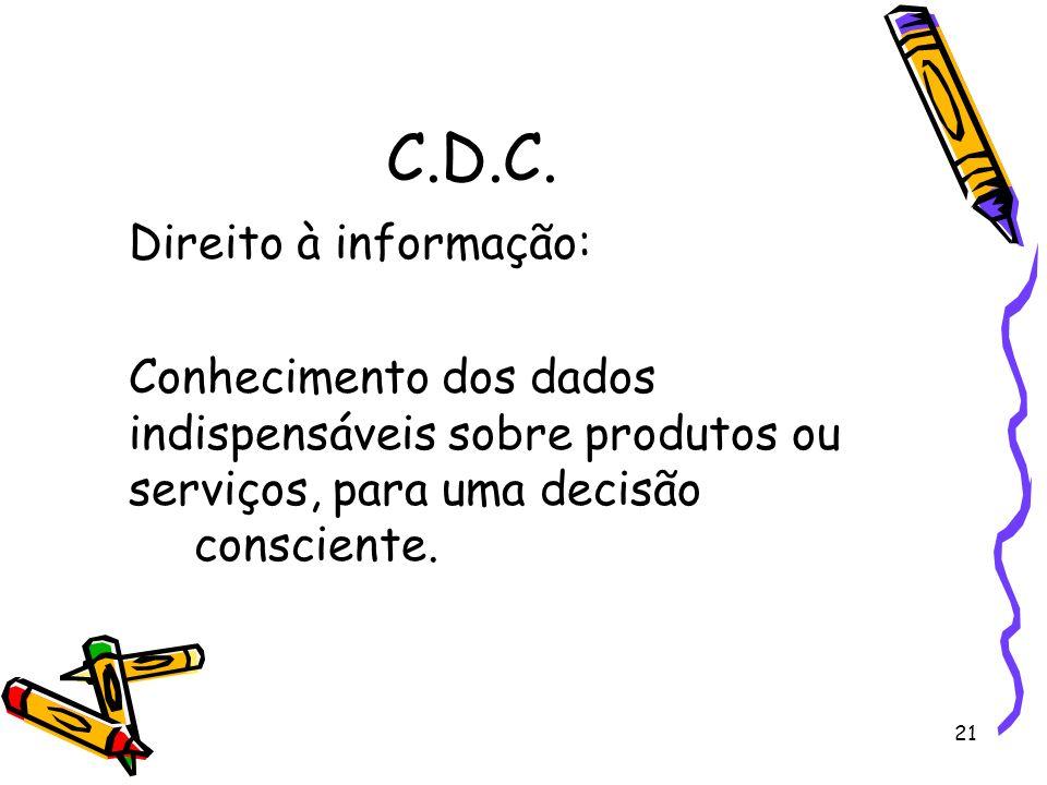 C.D.C. Direito à informação: