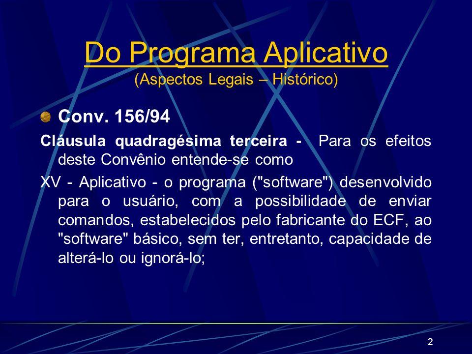 Do Programa Aplicativo (Aspectos Legais – Histórico)