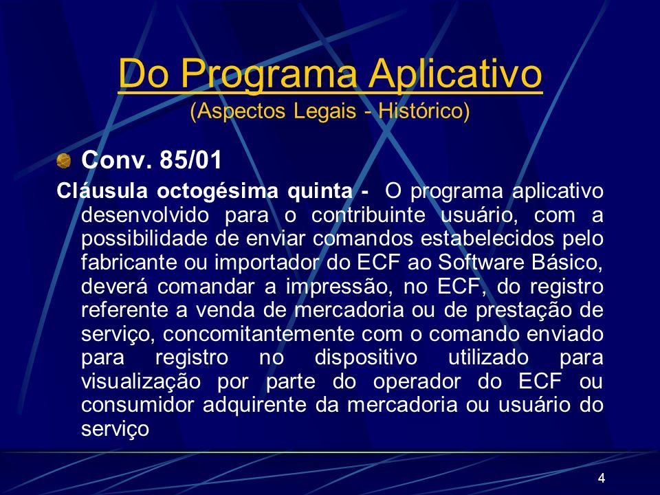 Do Programa Aplicativo (Aspectos Legais - Histórico)