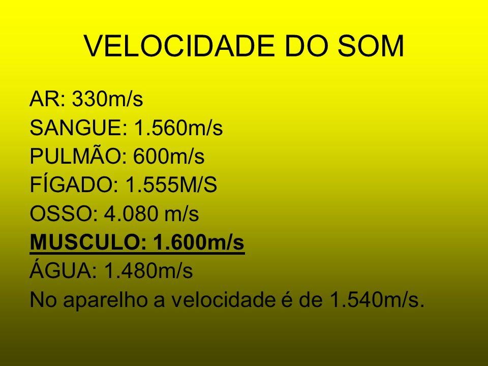 VELOCIDADE DO SOM AR: 330m/s SANGUE: 1.560m/s PULMÃO: 600m/s