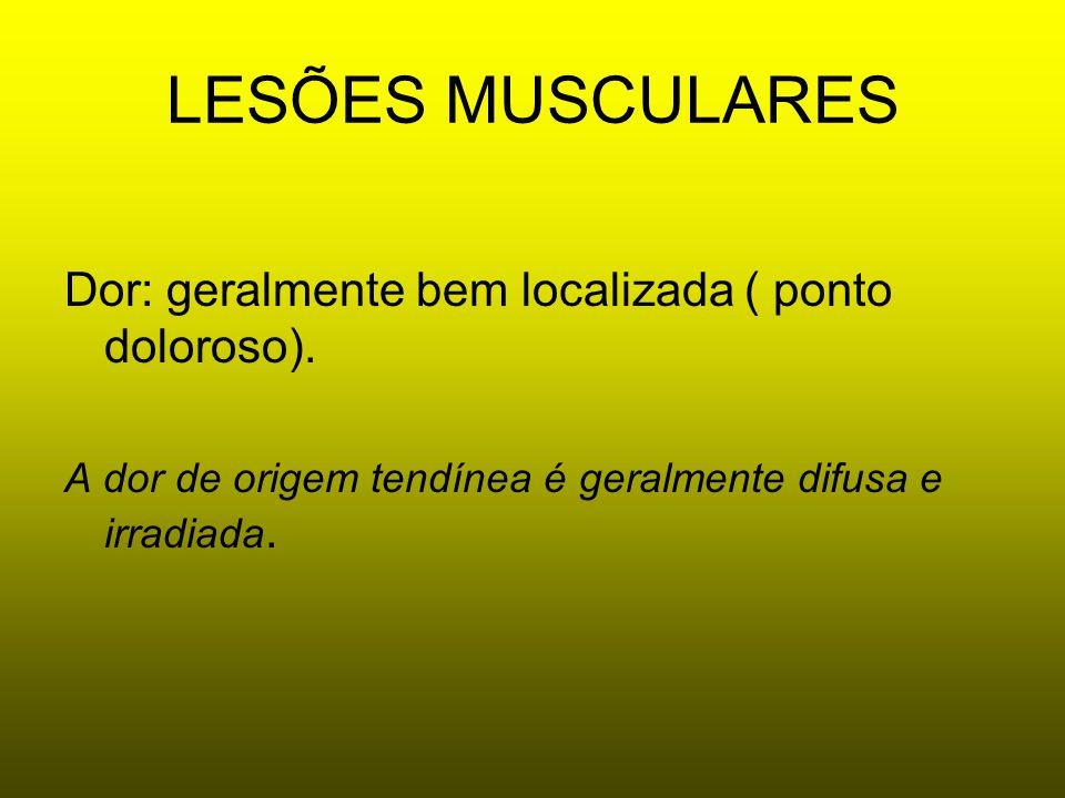 LESÕES MUSCULARES Dor: geralmente bem localizada ( ponto doloroso).