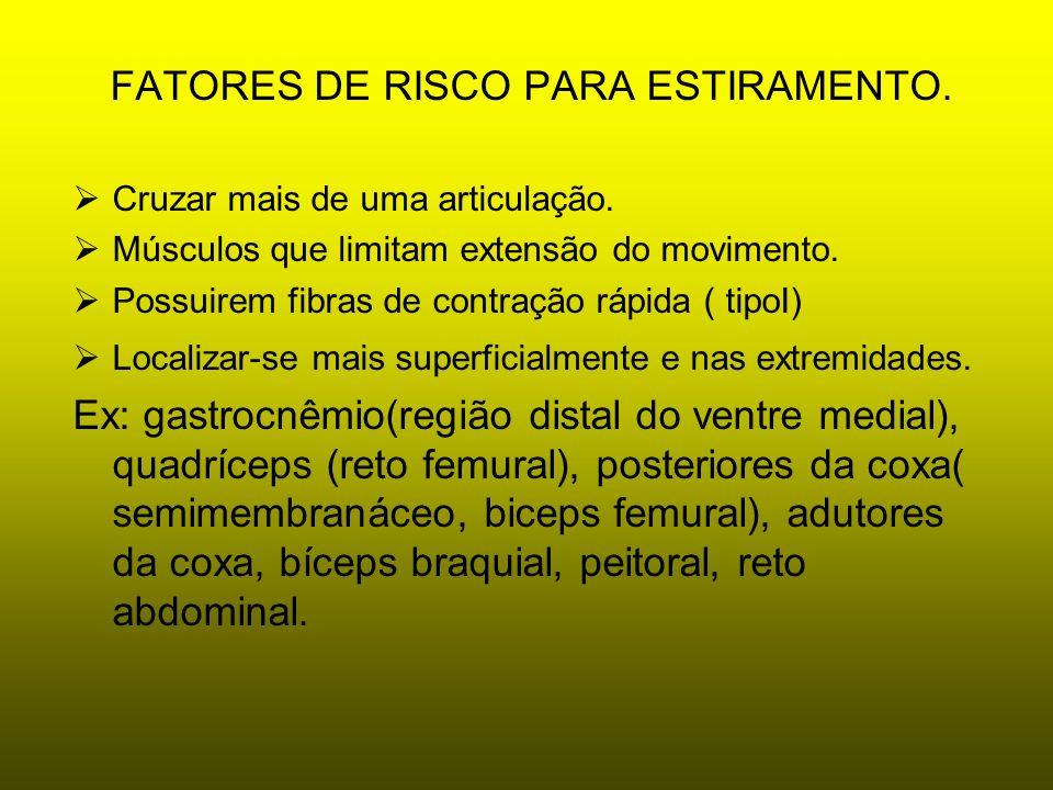 FATORES DE RISCO PARA ESTIRAMENTO.