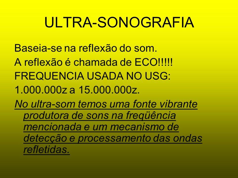 ULTRA-SONOGRAFIA Baseia-se na reflexão do som.