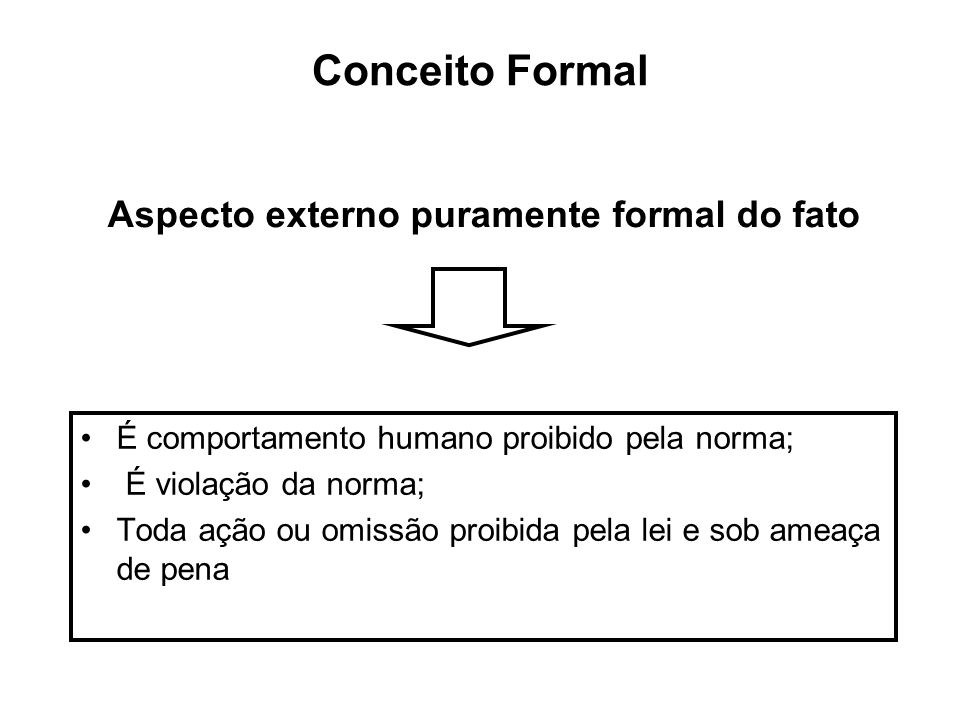 Aspecto externo puramente formal do fato