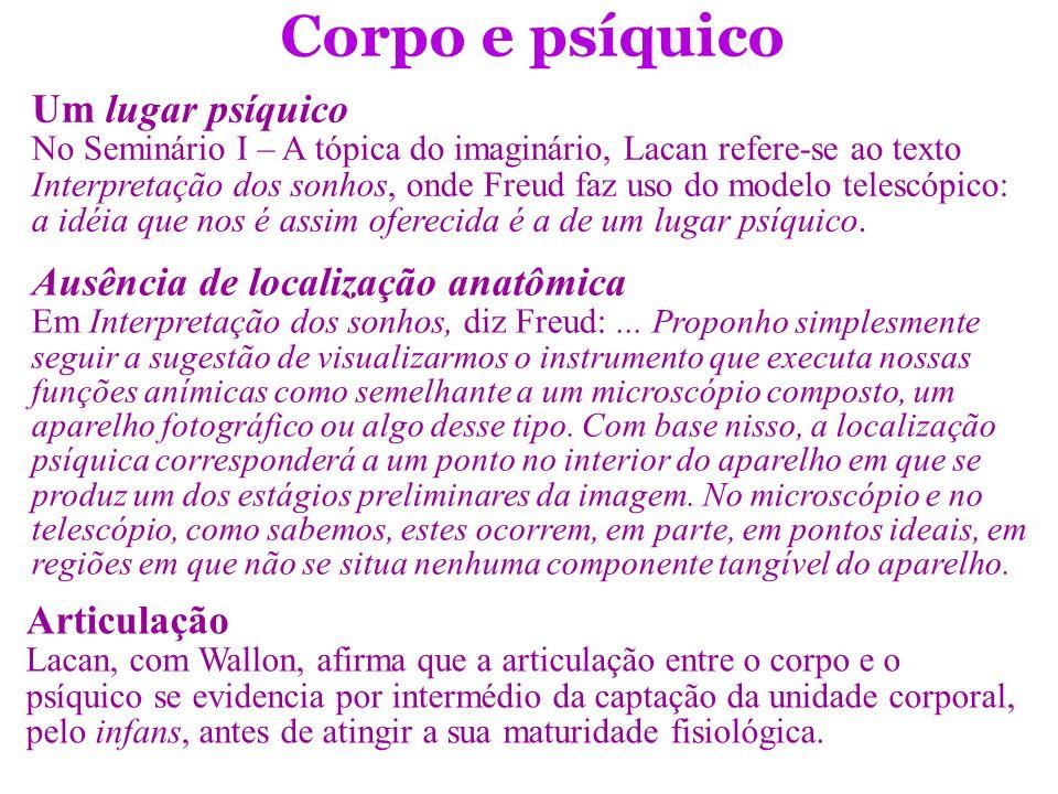 Corpo e psíquico Um lugar psíquico Ausência de localização anatômica