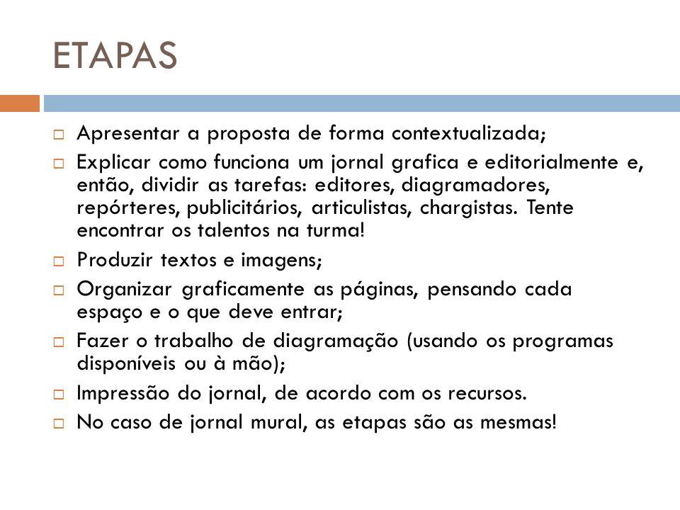 ETAPAS Apresentar a proposta de forma contextualizada;