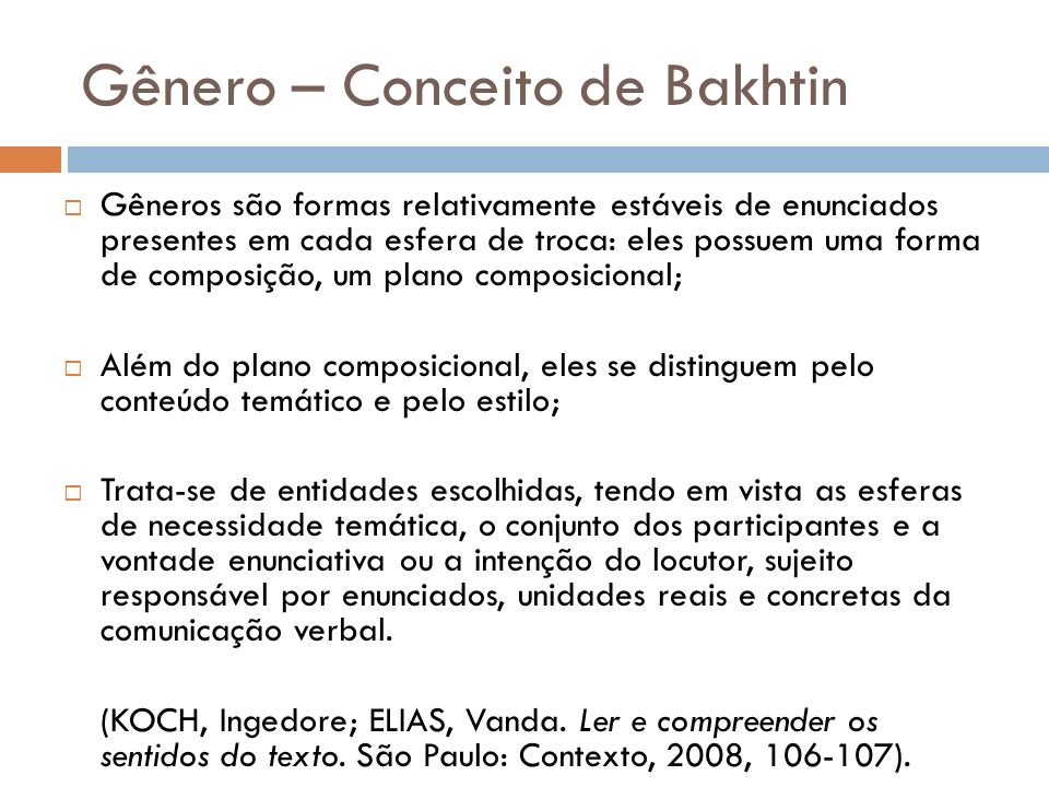 Gênero – Conceito de Bakhtin