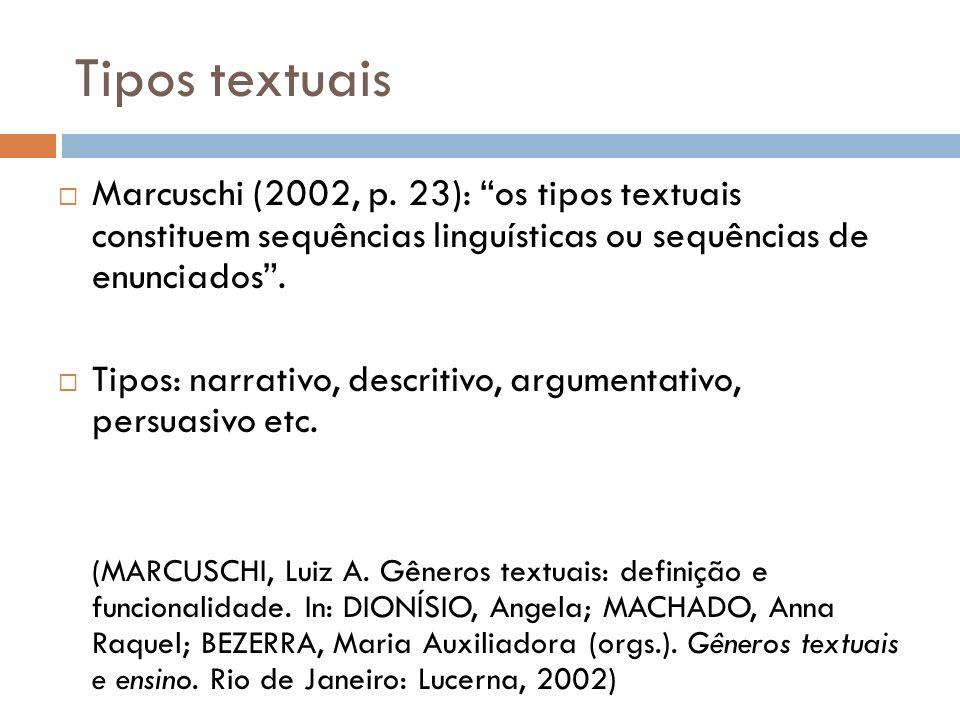 Tipos textuais Marcuschi (2002, p. 23): os tipos textuais constituem sequências linguísticas ou sequências de enunciados .