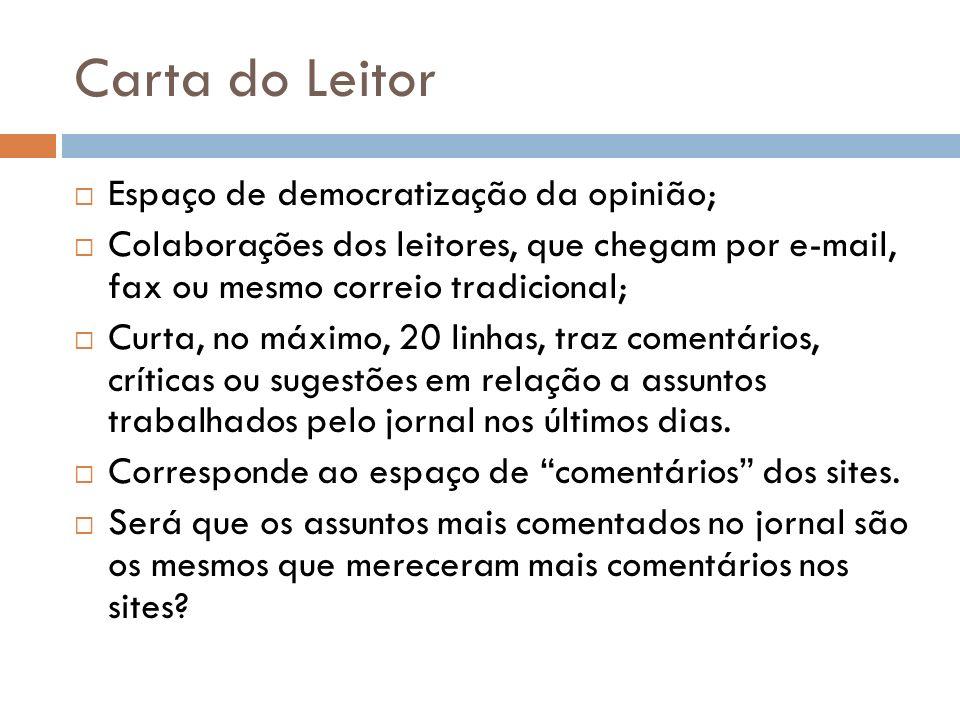Carta do Leitor Espaço de democratização da opinião;
