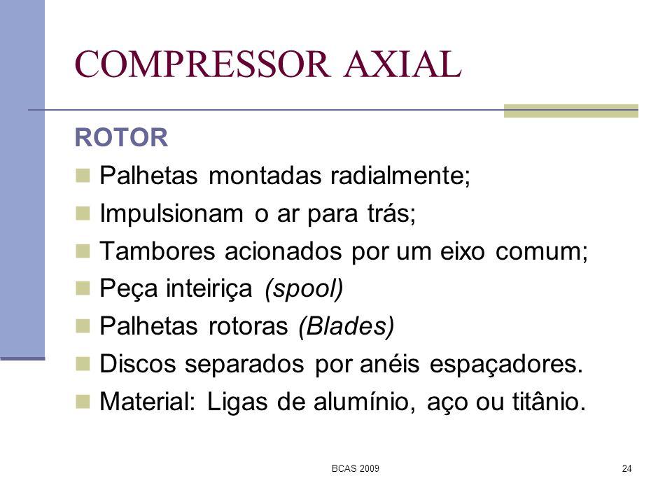 COMPRESSOR AXIAL ROTOR Palhetas montadas radialmente;