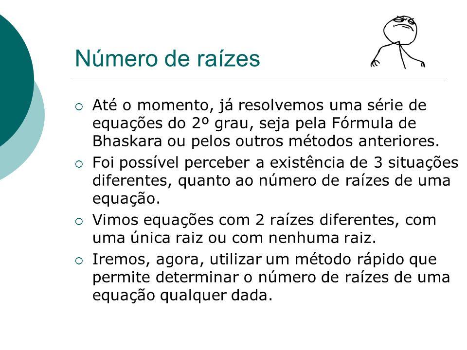 Número de raízesAté o momento, já resolvemos uma série de equações do 2º grau, seja pela Fórmula de Bhaskara ou pelos outros métodos anteriores.