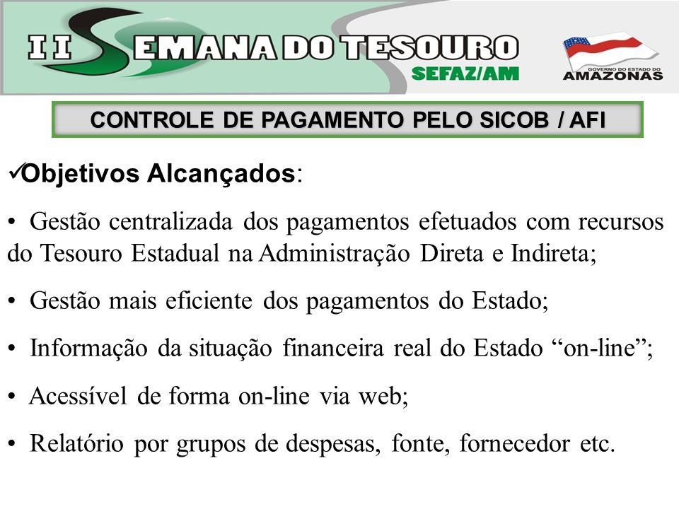 CONTROLE DE PAGAMENTO PELO SICOB / AFI