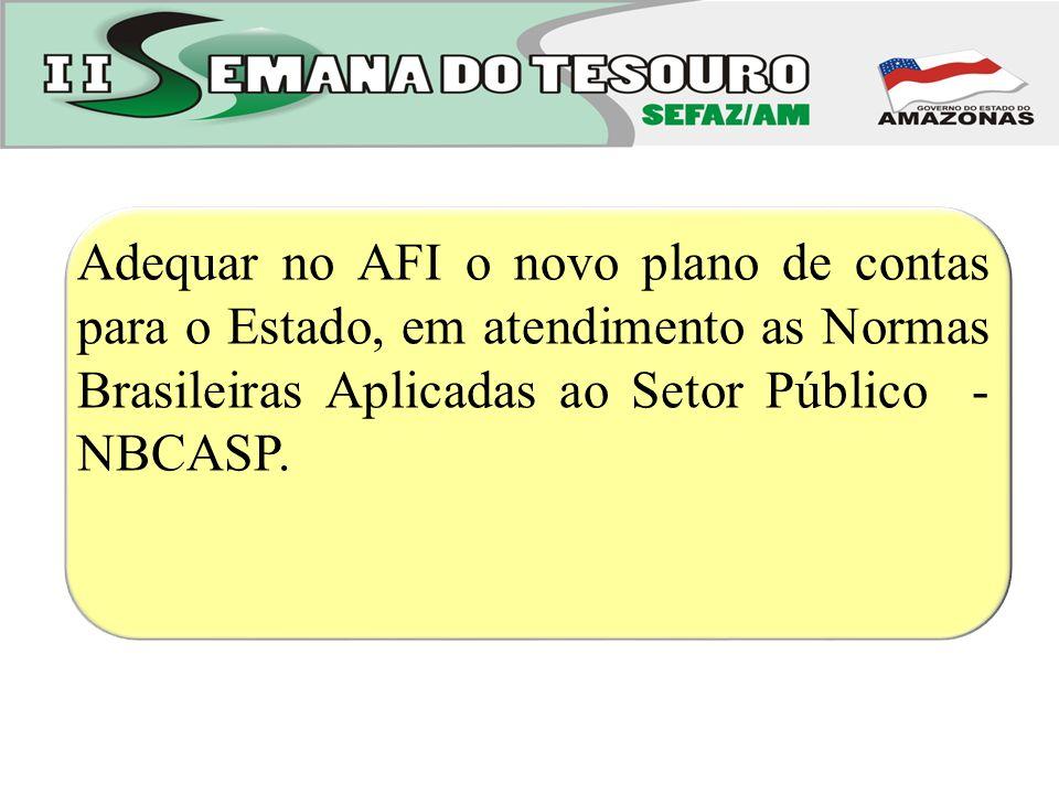 Adequar no AFI o novo plano de contas para o Estado, em atendimento as Normas Brasileiras Aplicadas ao Setor Público - NBCASP.