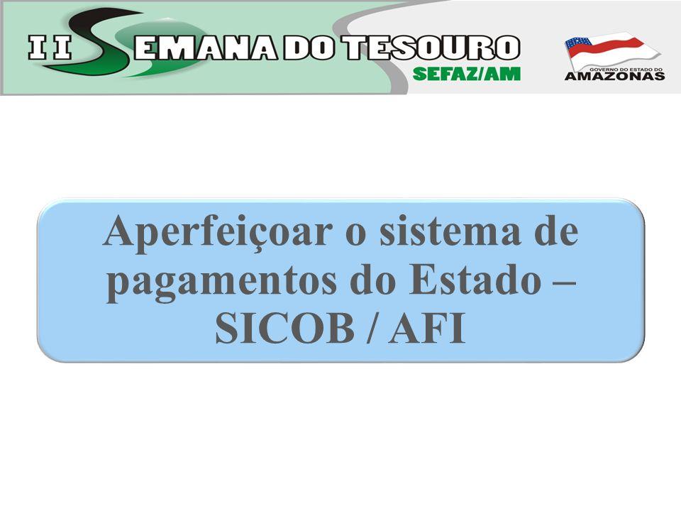Aperfeiçoar o sistema de pagamentos do Estado – SICOB / AFI
