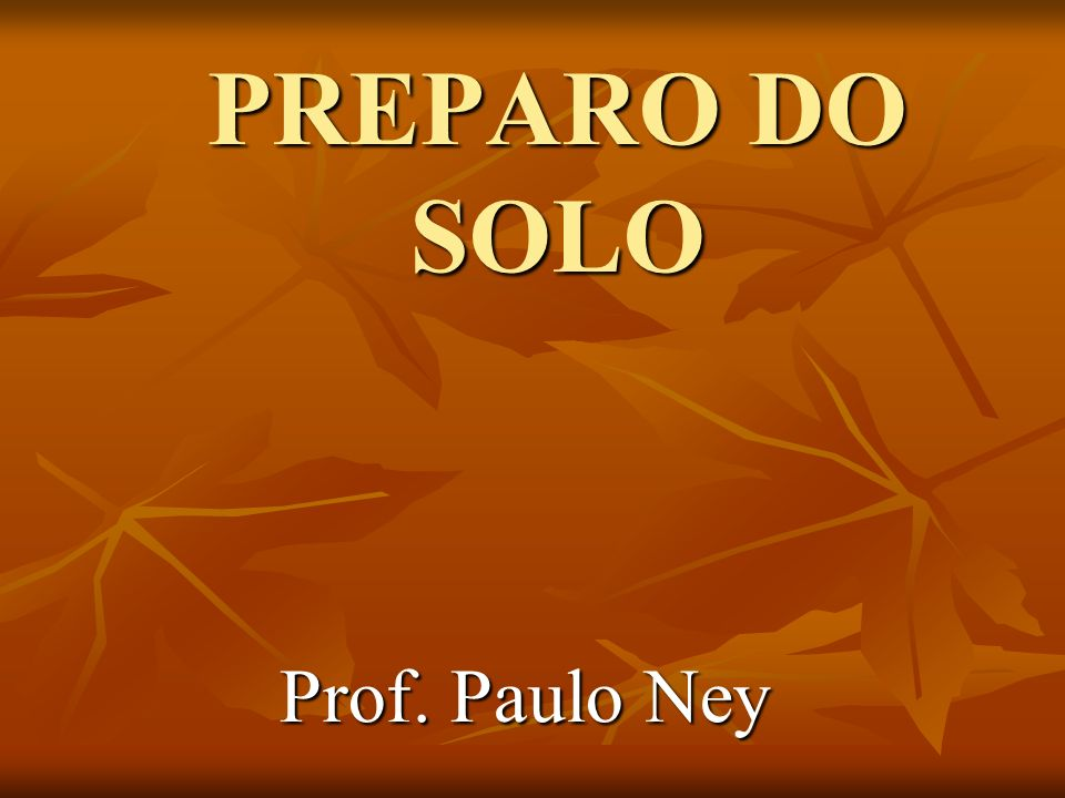 PREPARO DO SOLO Prof. Paulo Ney