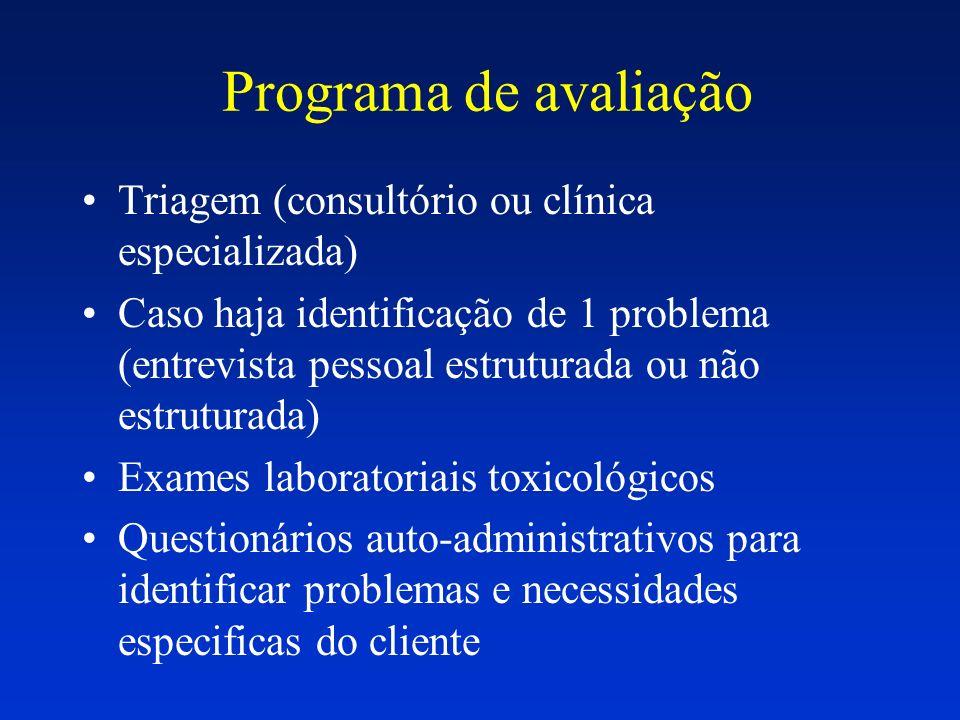 Programa de avaliação Triagem (consultório ou clínica especializada)