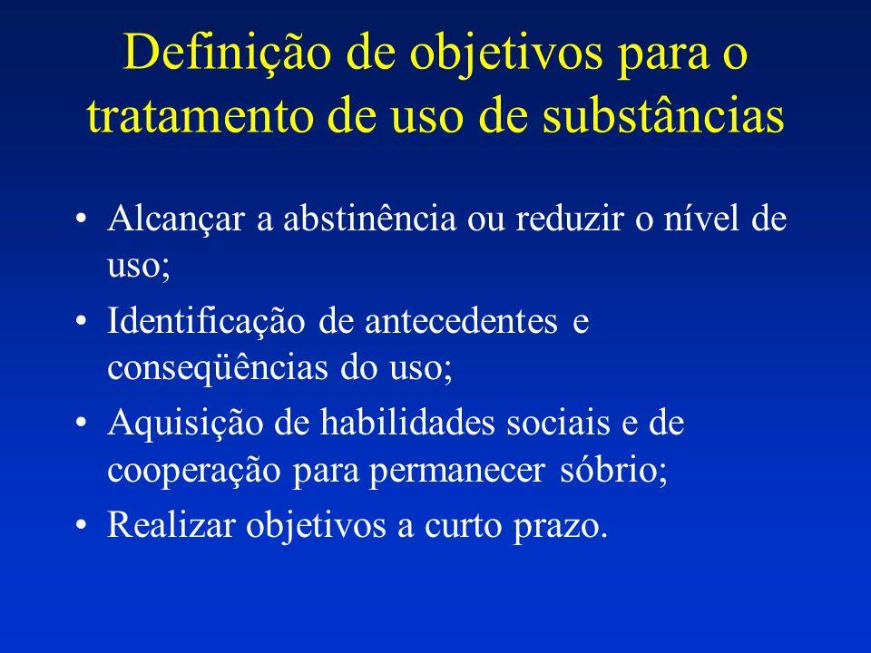 Definição de objetivos para o tratamento de uso de substâncias