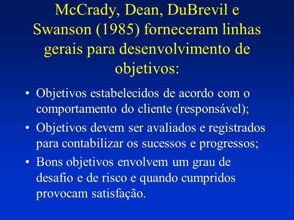 McCrady, Dean, DuBrevil e Swanson (1985) forneceram linhas gerais para desenvolvimento de objetivos: