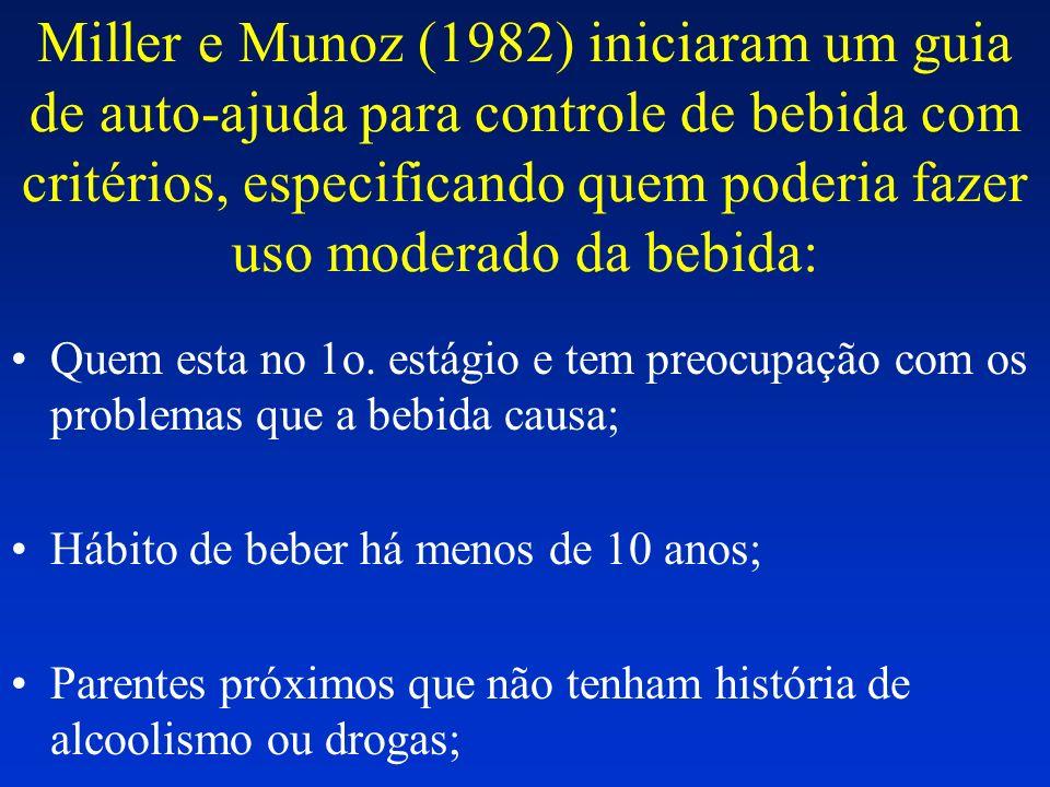 Miller e Munoz (1982) iniciaram um guia de auto-ajuda para controle de bebida com critérios, especificando quem poderia fazer uso moderado da bebida: