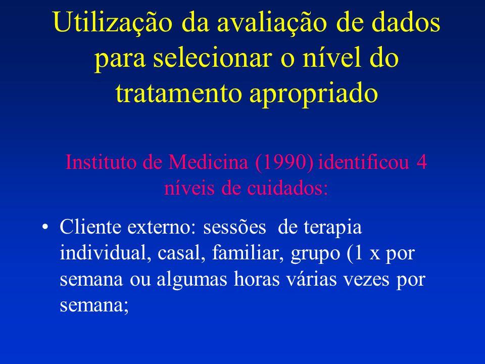 Utilização da avaliação de dados para selecionar o nível do tratamento apropriado Instituto de Medicina (1990) identificou 4 níveis de cuidados: