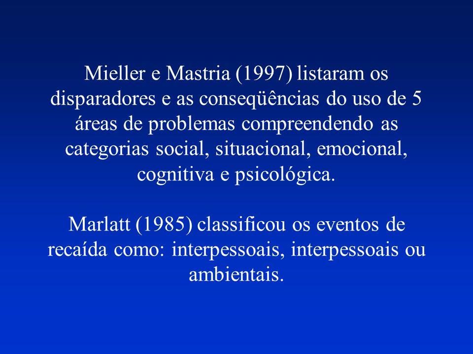 Mieller e Mastria (1997) listaram os disparadores e as conseqüências do uso de 5 áreas de problemas compreendendo as categorias social, situacional, emocional, cognitiva e psicológica.