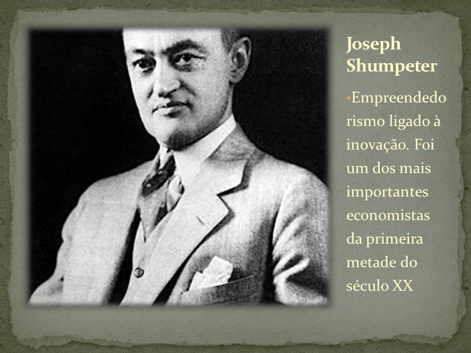 Joseph Shumpeter Empreendedo rismo ligado à inovação.