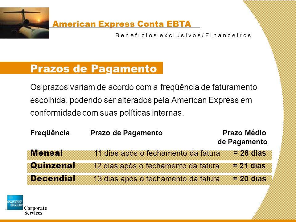 Prazos de Pagamento American Express Conta EBTA