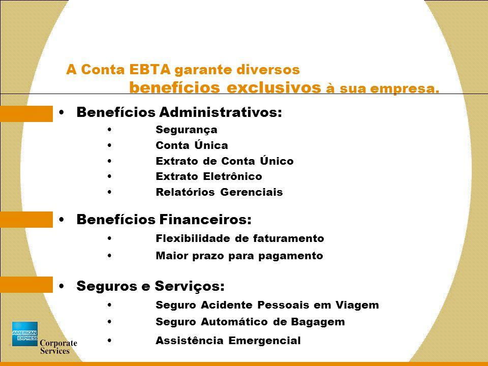 A Conta EBTA garante diversos benefícios exclusivos à sua empresa.