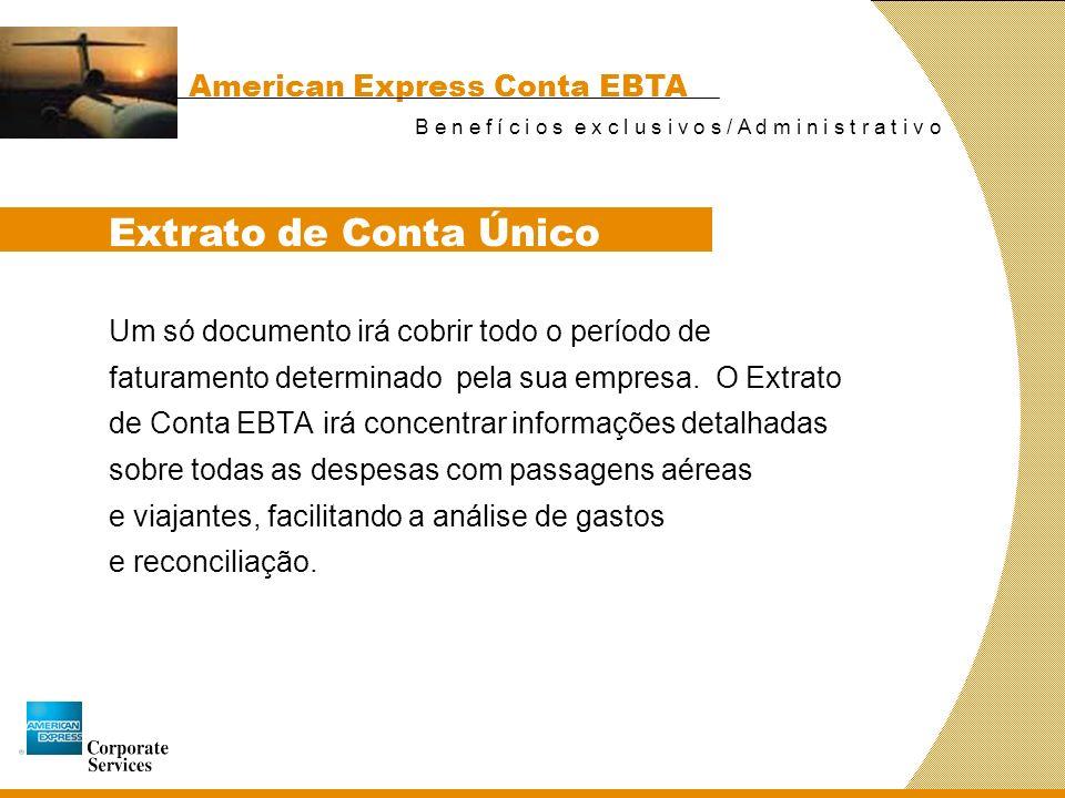 Extrato de Conta Único American Express Conta EBTA