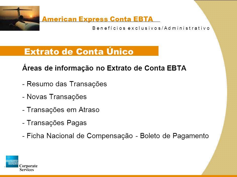 Extrato de Conta Único Áreas de informação no Extrato de Conta EBTA