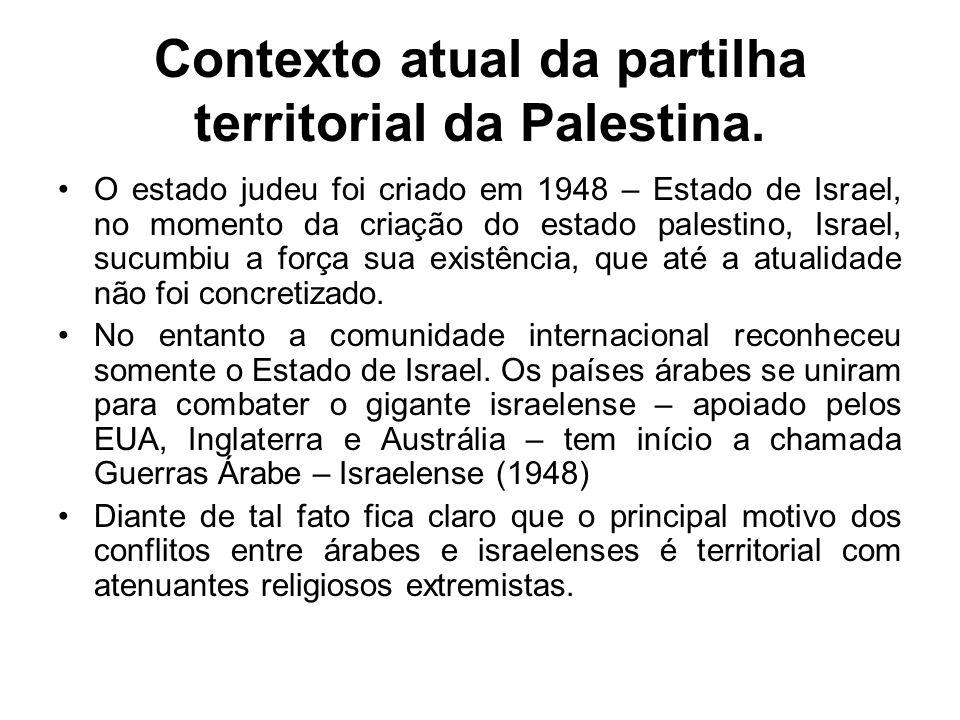 Contexto atual da partilha territorial da Palestina.