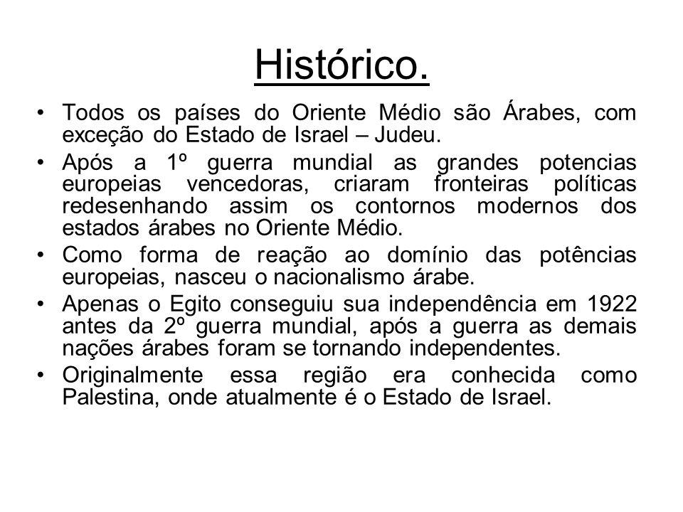 Histórico. Todos os países do Oriente Médio são Árabes, com exceção do Estado de Israel – Judeu.