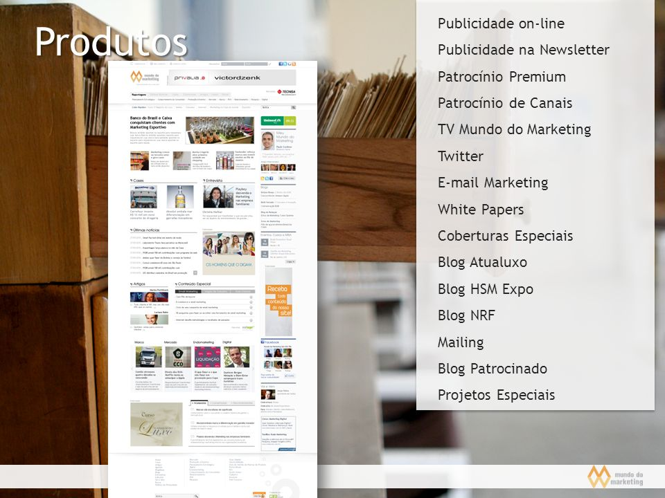 Produtos Publicidade on-line Publicidade na Newsletter