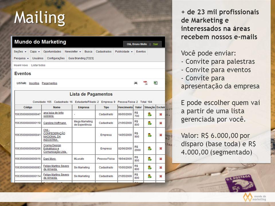 + de 23 mil profissionais de Marketing e interessados na áreas recebem nossos e-mails
