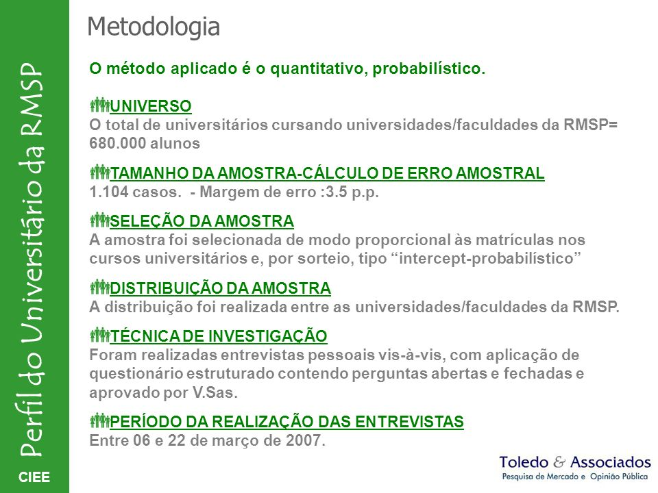 Metodologia O método aplicado é o quantitativo, probabilístico.