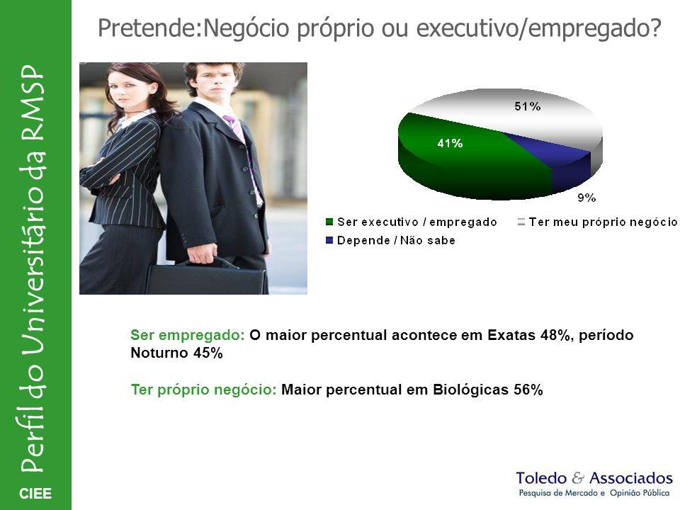 Pretende:Negócio próprio ou executivo/empregado