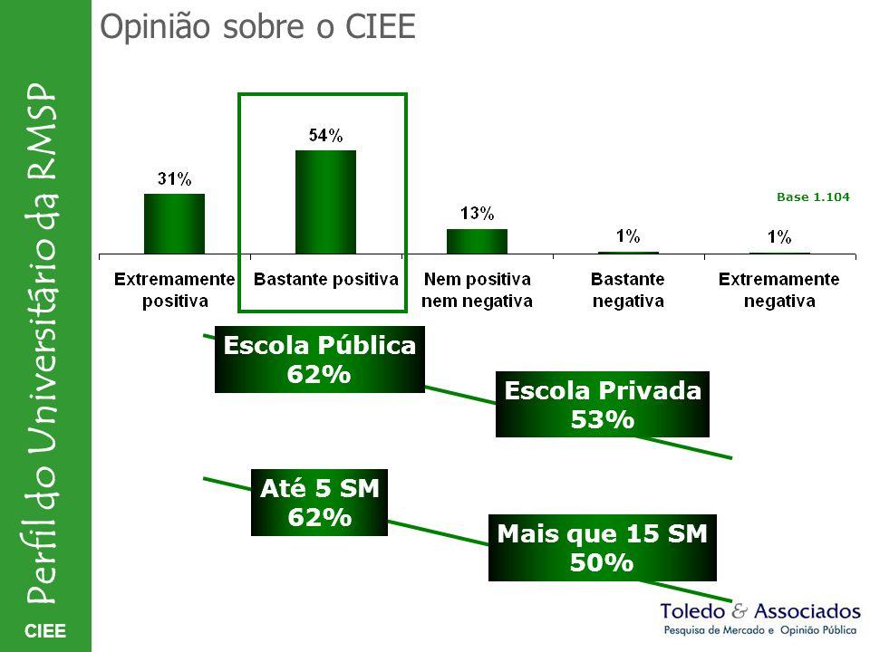 Opinião sobre o CIEE Escola Pública 62% Escola Privada 53% Até 5 SM