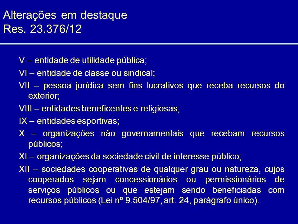Alterações em destaque Res. 23.376/12