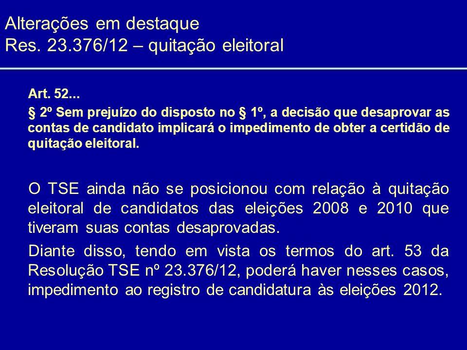 Alterações em destaque Res. 23.376/12 – quitação eleitoral