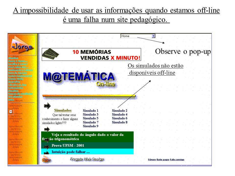 A impossibilidade de usar as informações quando estamos off-line