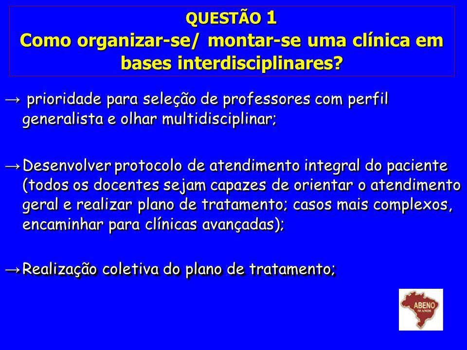 QUESTÃO 1 Como organizar-se/ montar-se uma clínica em bases interdisciplinares