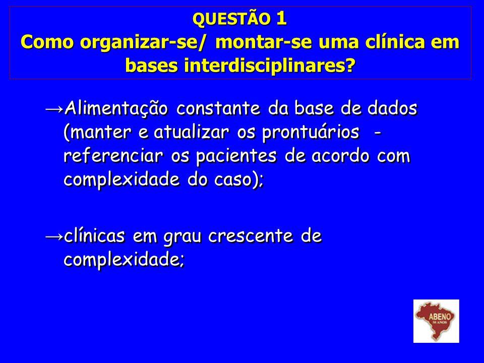 clínicas em grau crescente de complexidade;