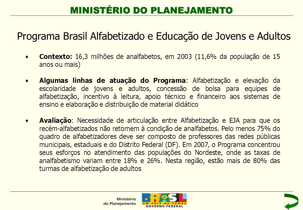 Programa Brasil Alfabetizado e Educação de Jovens e Adultos