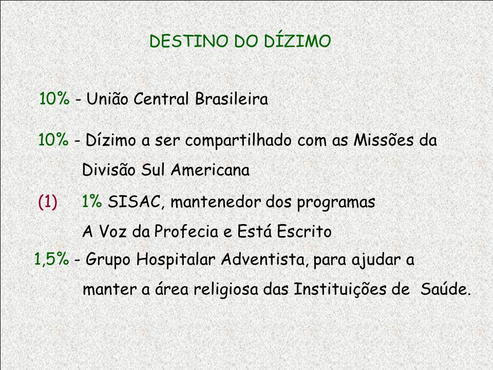 DESTINO DO DÍZIMO 10% - União Central Brasileira. 10% - Dízimo a ser compartilhado com as Missões da.