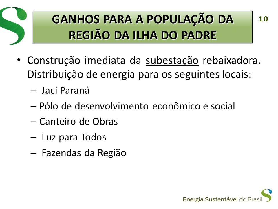 GANHOS PARA A POPULAÇÃO DA REGIÃO DA ILHA DO PADRE